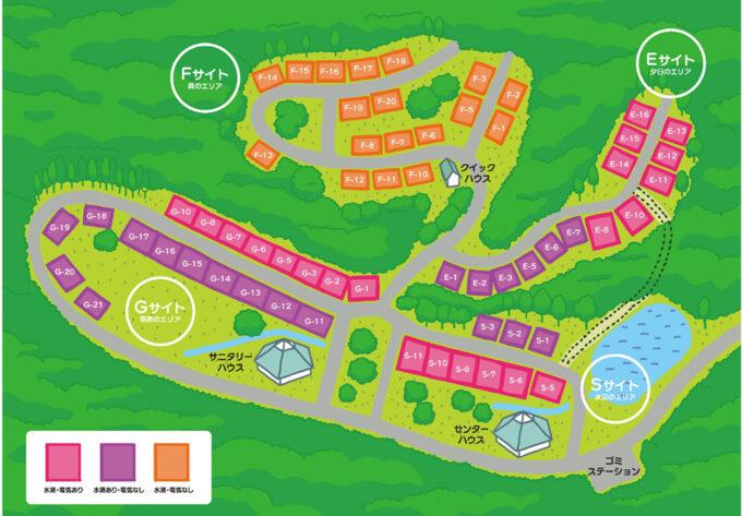 フォレストステーション波賀東山オートキャンプ場サイトマップ