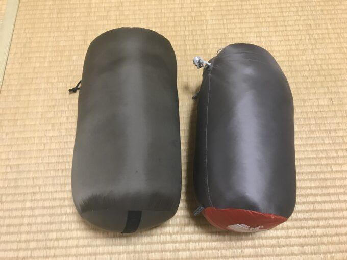 モンベル ダウンハガー800 #3とハイランダー ダウンシュラフ600の比較
