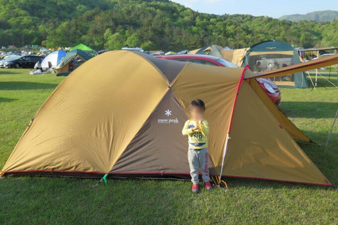 初キャンプ初テント張り